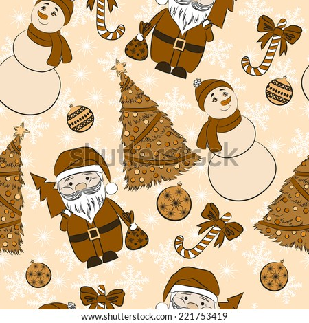Vector seamless background, Christmas and New Year's decorative elements.  Suitable for various designs, invitation, thank you card, wrapping paper pattern and scrapbooking. Vector 10 EPS - stock vector