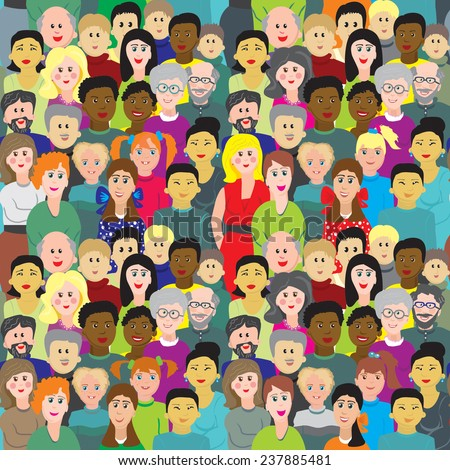 Vector seamless background crowd of multinational people - stock vector