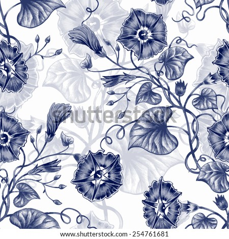 Vector seamless background. Design for fabrics, textiles, paper, wallpaper, web. Bindweed. Retro. Vintage style. - stock vector