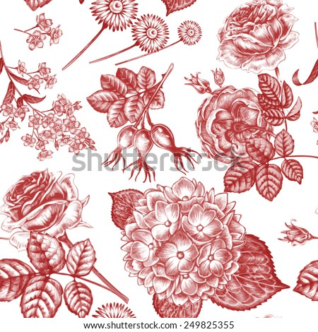 Vector seamless background. Design for fabrics, textiles, paper, wallpaper, web. Retro. Vintage style. rose, hydrangea, forget-me, rosehips. - stock vector