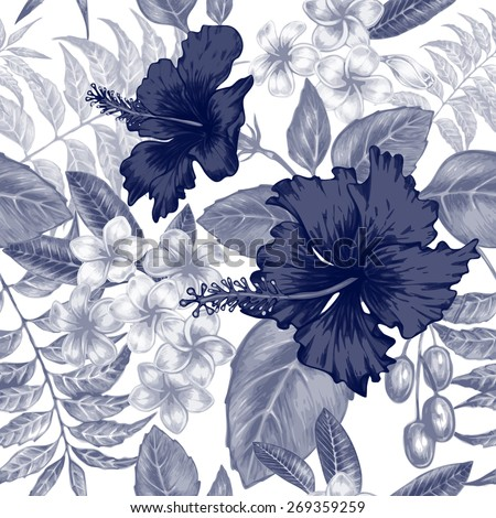 Vector seamless background. Exotic flowers. Hibiscus, palm leaves. Design for fabrics, textiles, paper, wallpaper, web. Retro. Vintage style. Floral ornament. Black and white. - stock vector