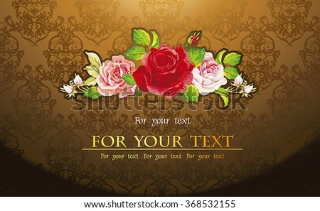 Vector seamless background Floral pattern, Damask wallpaper. Retro decor illustration with roses - stock vector