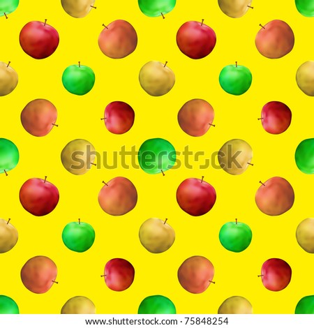 Vector seamless background: fruits, various apples on yellow