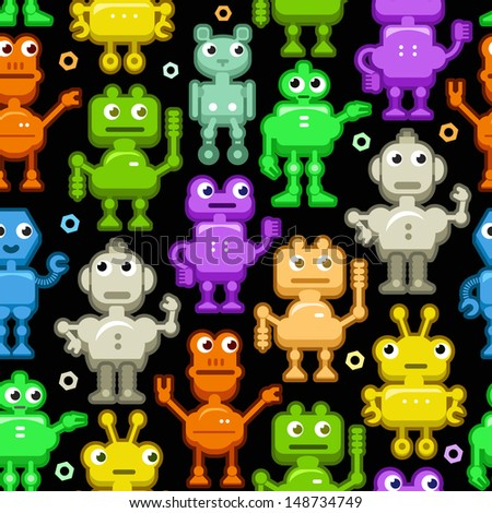 Vector Seamless Background: Funny Colorful Robots on Black. Droid's Pattern - stock vector
