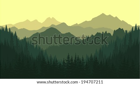 Vector seamless background. Green Mountain landscape in the summer. - stock vector