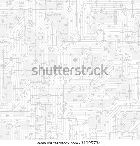 Vector seamless background of electrical circuit of radio device (resistance, transistor, diode, capacitor, inductor) in grey tone. - stock vector