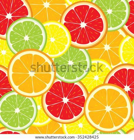 Vector seamless background of lemon, orange, lime, grapefruit slices. - stock vector
