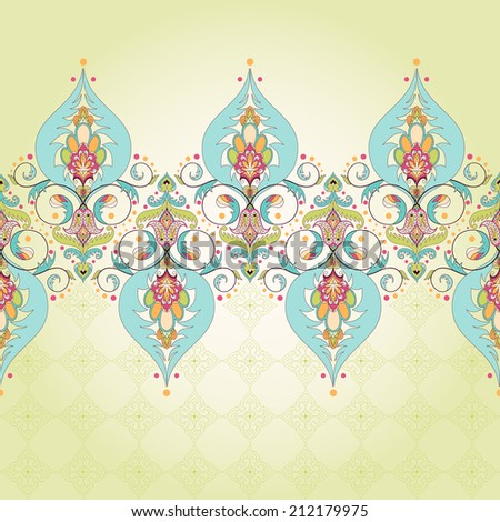 Vector seamless background. Oriental floral border. Simple delicate ornament. - stock vector