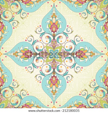 Vector seamless background.  Oriental floral pattern. Simple delicate ornament. - stock vector