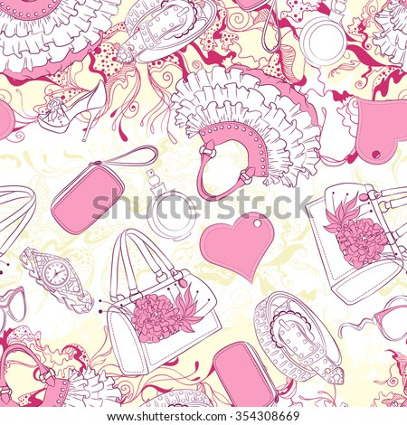 Vector seamless background pattern with handbags and fashion accessories - stock vector