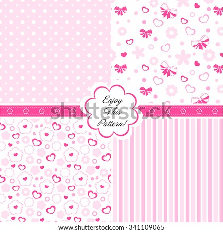 Vector seamless background patterns in pink. Great for baby texture, announcement, Mother's Day, Valentines Day, Easter, wedding, surface textures, gift wrapping paper for girls. - stock vector