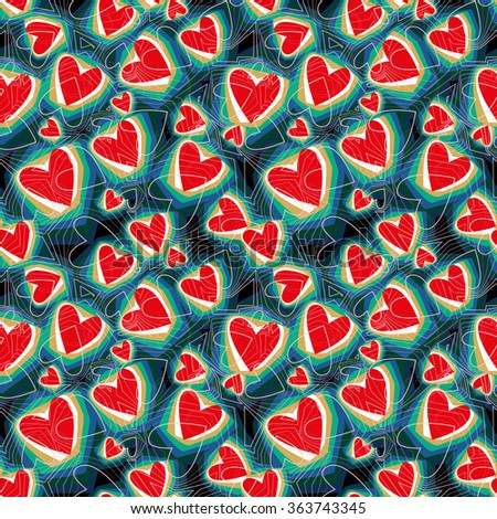 Vector seamless background. Red and blue geometric pattern of hearts. Texture for Valentine's Day, Web, printing, wrapping paper, background for wedding invitations, textiles, fabrics, home decor. - stock vector