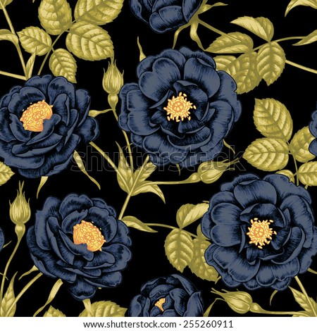 Vector seamless background. Rose, peony. Design for fabrics, textiles, paper, wallpaper, web. Retro. Vintage style. Floral ornament. - stock vector