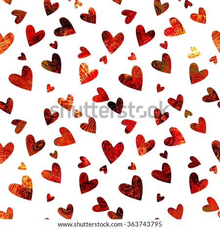 Vector seamless background. The geometric ornament of hearts with a complex pattern. For Valentine's Day, printing, wrapping paper, background for wedding invitations, textiles, fabrics, home decor. - stock vector