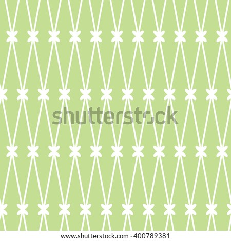 Vector seamless background. White grid on the green background - stock vector