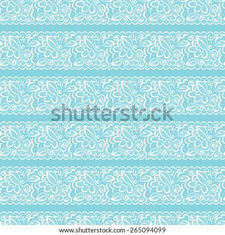 Vector seamless background. White lace on light blue background - stock vector
