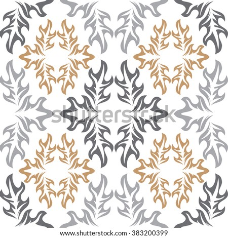 Vector seamless background. White wallpaper with retro pattern - stock vector