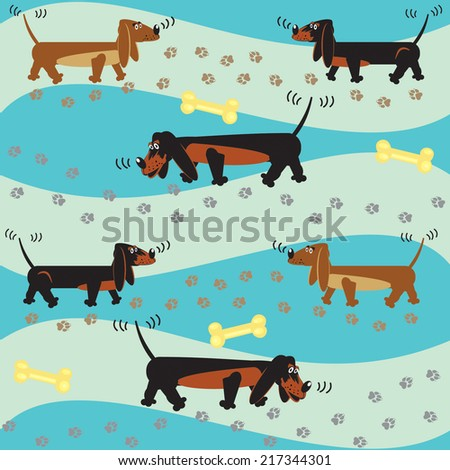 Vector seamless background with a dogs - stock vector