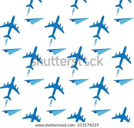vector seamless background with airplanes in blue colors - stock vector