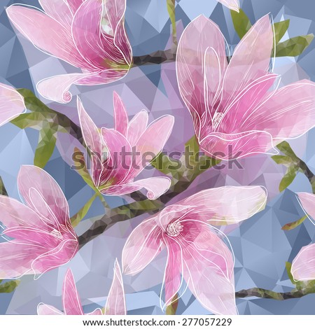 Vector Seamless background with blooming magnolia flowers in triangles style - stock vector