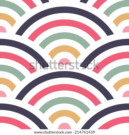 Vector seamless background with colorful fishscale pattern - stock vector