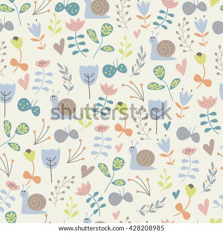 Vector seamless background with cute flowers, snails, butterflies and hearts in cartoon style - stock vector