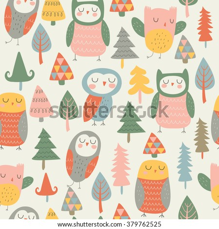 Vector seamless background with cute owls and trees in cartoon style - stock vector
