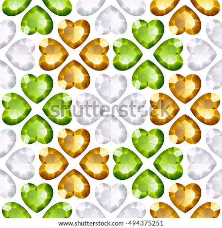 Vector seamless background with diamonds heart shape. Orange cross and green quarterfoil on white background