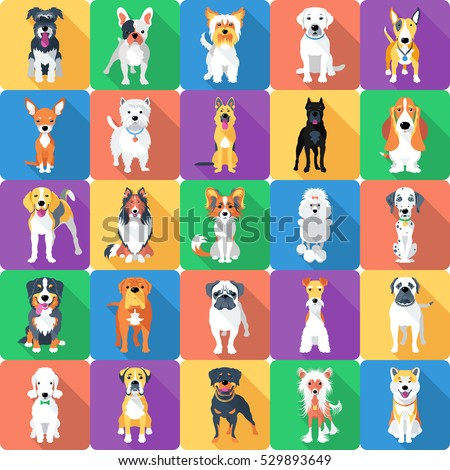 Vector seamless background with dogs sitting and standing icon flat design