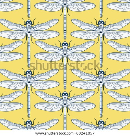 vector seamless background with dragonflies - stock vector
