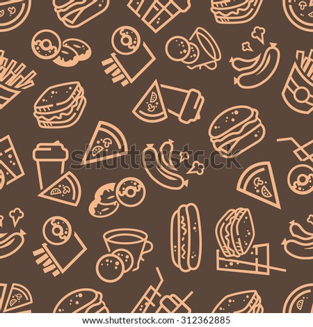 Vector seamless background with fast food icons for your design. - stock vector
