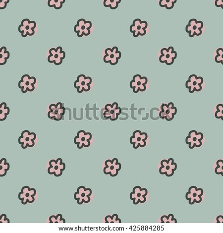 Vector seamless background with flowers.Stylized illustration. Simple doodles - stock vector