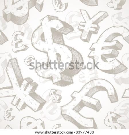 Vector seamless background with hand drawn currency signs - stock vector