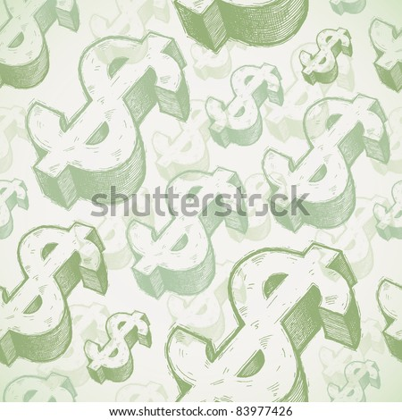 Vector seamless background with hand drawn dollar signs - stock vector