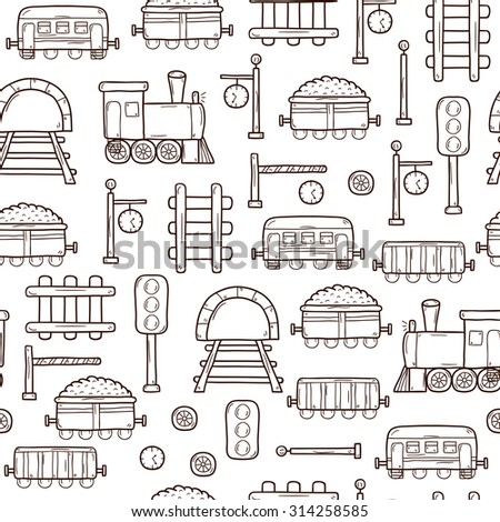 Vector seamless background with hand drawn railroad objects: wagons, semaphore, railway station clock, locomotive, barrier, tunnel. Transport shipping delivery or travel concept for your design - stock vector