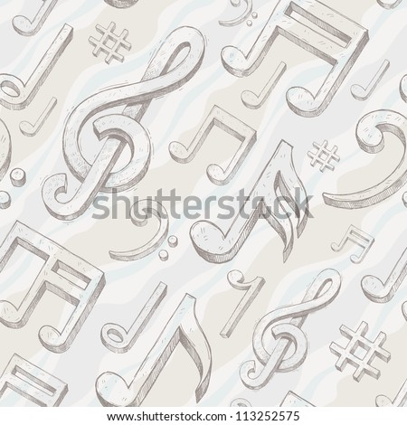 Vector seamless background with hand drawn treble clef and notes - stock vector