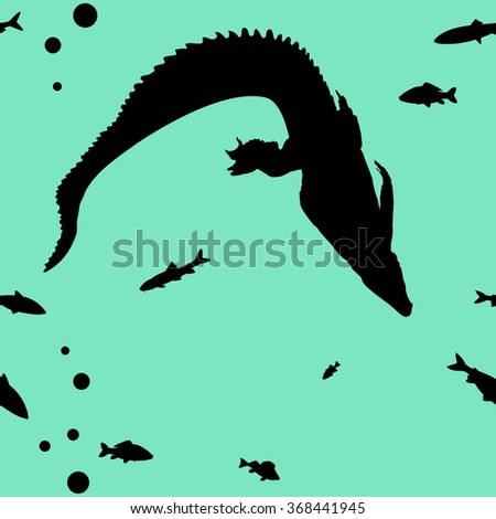 vector seamless background with  Hunting young Crocodile and fishes - stock vector