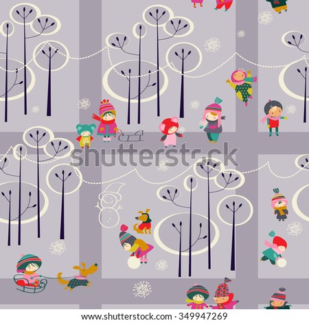Vector seamless background with kids in winter park - stock vector