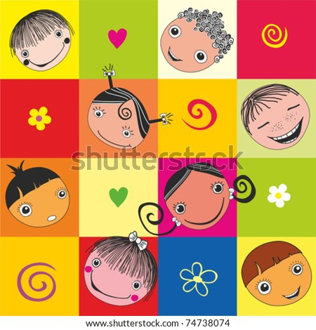 vector seamless background with kids. Vector illustration