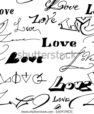 Vector seamless background with love inscription.