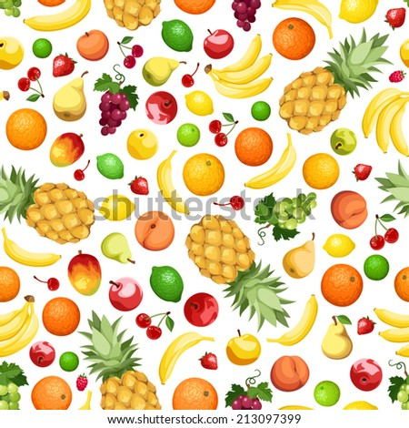 Vector seamless background with various fruits on white. - stock vector