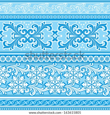 vector  seamless background with winter geometric ornament - stock vector