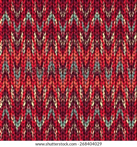 Vector seamless background with zigzag, imitation jacquard knitting