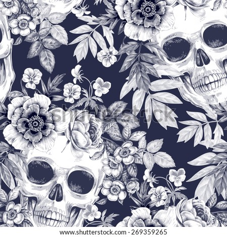 Vector seamless background. Wreaths of garden flowers and skulls. Roses, peonies. Design for fabrics, textiles, paper, wallpaper, web. Retro. Vintage style. Floral ornament. Black and white. - stock vector
