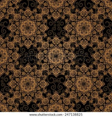 Vector seamless baroque damask luxury background - stock vector