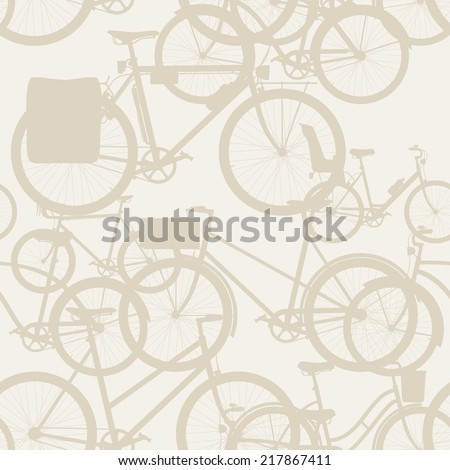 Vector seamless bicycle themed pattern with touring bicycle, fixed gear, wooden crate, retro frame and baby seat equipped bicycle | City, town and urban bicycles seamless pattern beige background - stock vector