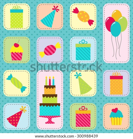Vector seamless birthday party pattern with cake, balloons, presents, hats and sweets - stock vector