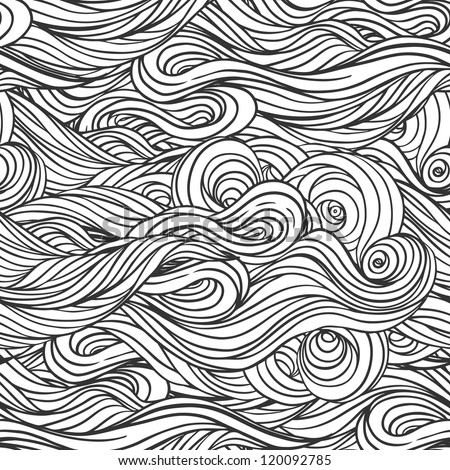 Vector seamless black and white abstract hand-drawn pattern with waves and clouds - stock vector
