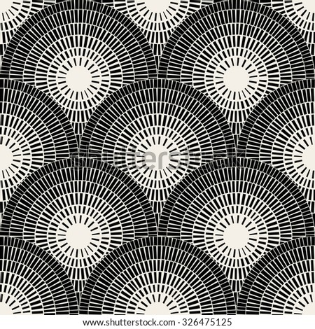 Vector Seamless Black And White  Brick Round Circle Pavement Mosaic Pattern Background - stock vector