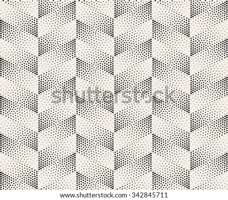 Vector Seamless Black And White Circle Stippling Chevron ZigZag Halftone Gradient Pattern Abstract Background - stock vector